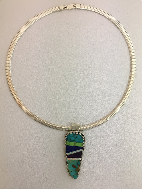 "925 Intarsia Native Made on 20"" Omega Necklace"