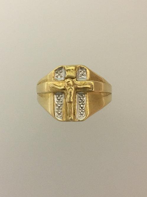 10k Yellow Gold/White Gold Crucifix Ring Size - 10