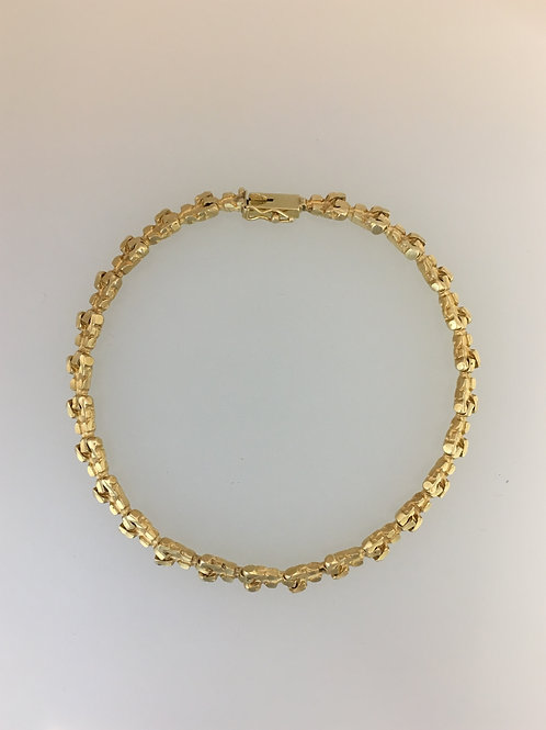 "14k Yellow Gold Nugget Bracelet 5mm Wide 8"" Long"
