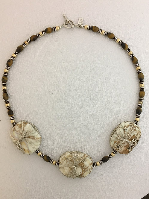 """925, Howlite, & Tiger Eye Tree of Life 18"""" Necklace"""