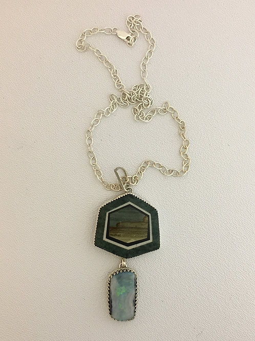 "925, Opal, & Jasper on Jade, Artisan made & Signed 18"" Necklace"