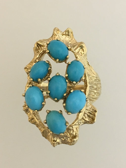 14k & Turquoise Ring Size - 7 1/2