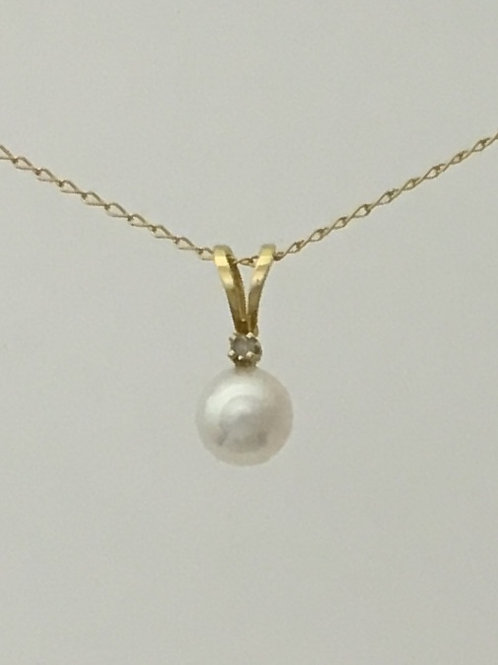 "14k Yellow Gold 16"" With 5mm Pearl Necklace"