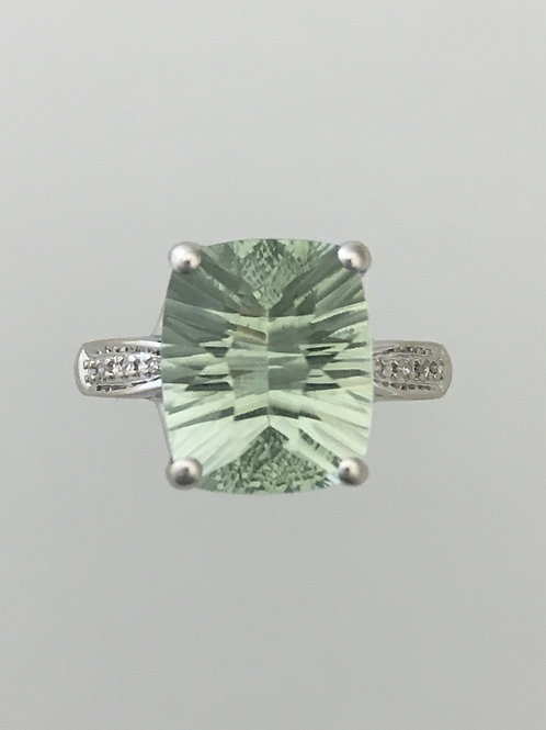 14k White Gold .05 Diamond Green Quartz Ring Size - 7