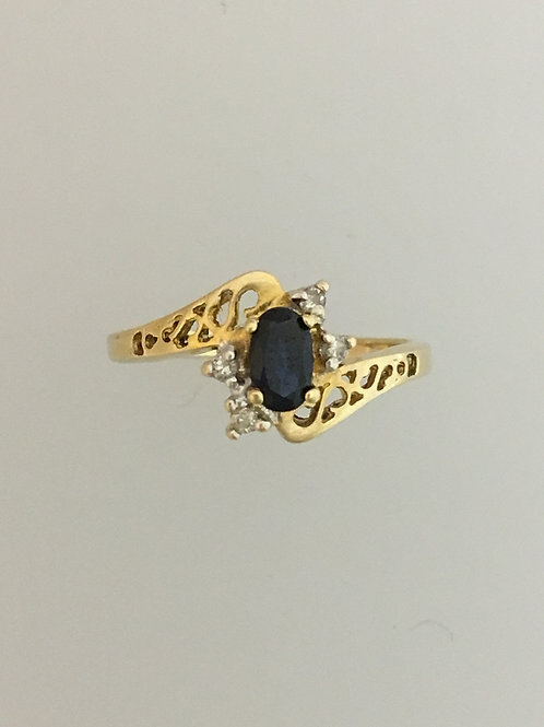 14k Y.ellow Gold .25 Sapphire and .02 Diamond Ring Size - 4 1/2