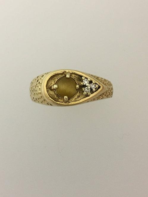 10k Yellow Gold Tigers Eye & .04 Diamond Ring Size - 10