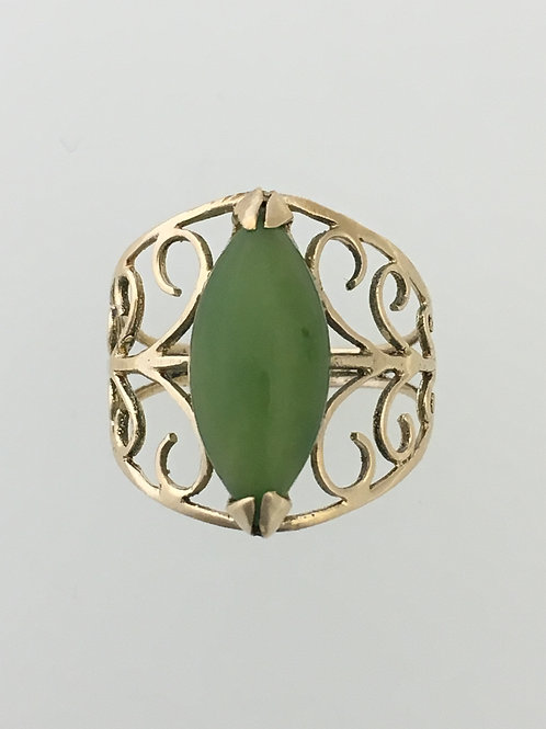 14k Yellow 1.50 Carat Jade Ring Size - 6