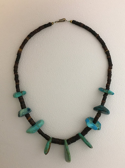 """925, Hieshe & Turquoise 16 1/2"""" Necklace"""