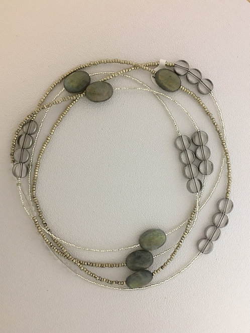 "Glass, Labradorite, & Crystal 62"" Necklace"