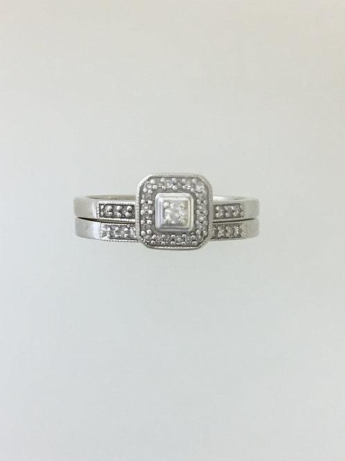 10k White Gold .24 TW Diamond Ring Size - 6 1/2