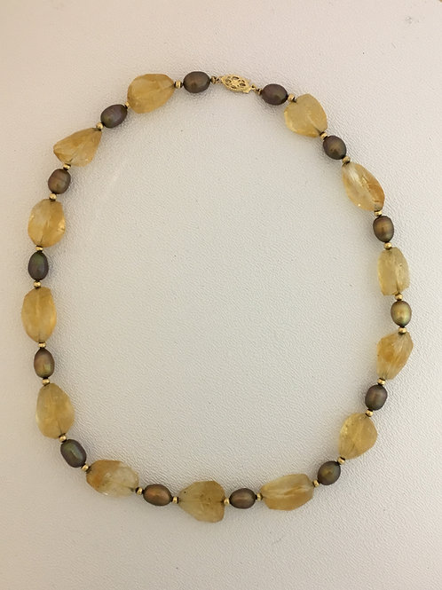 """14k Yellow Gold Clasp, Golden Potato Pearls, Citrine Faceted Beads 17"""" Necklace"""