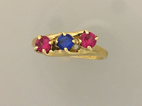 10k Yellow Gold and Synthetic Ruby and Sapphire Ring Size - 8