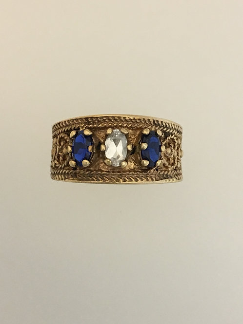 10k Yellow Gold Synthetic Sapphire and Diamond Ring Size - 6