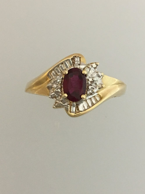 10k Yellow Gold Synthetic Ruby .02 Diamond Ring Size - 9