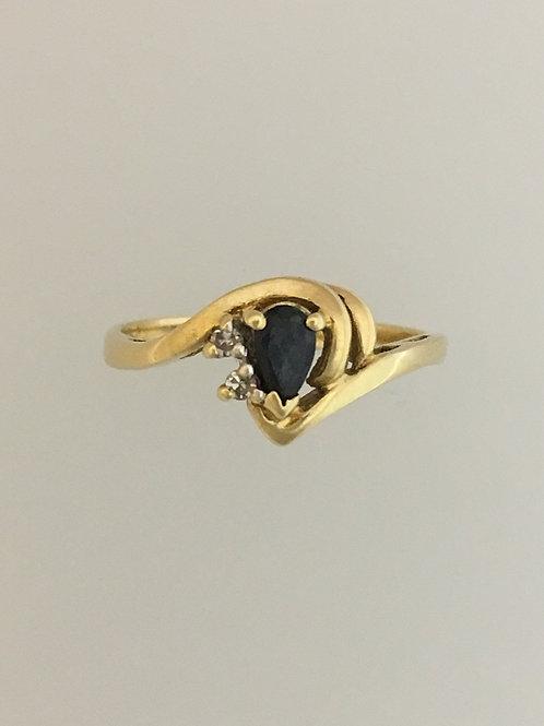 14k Yellow Gold .20 Sapphire .02 Diamond Ring Size - 6