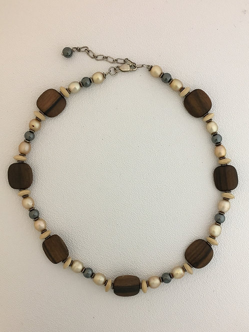 "925, Pearl, Hematite & Wood 16"" Necklace with 2"" Extender"