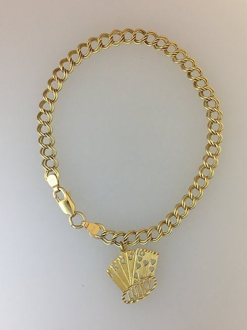 """14k Yellow Gold Charm Bracelet 7"""" Long and 5mm Wide"""