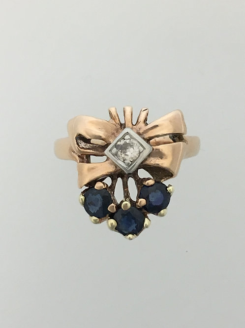 14k Yellow Gold .15 Diamond and .60 Sapphire Ring Size - 6