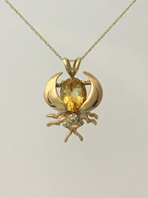 "10k Yellow Gold 16"" 2.46 Carat Citrine Necklace"