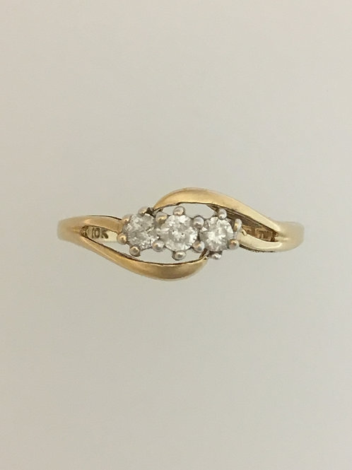 10k Yellow Gold .30 TW Diamond Ring Size - 1/4