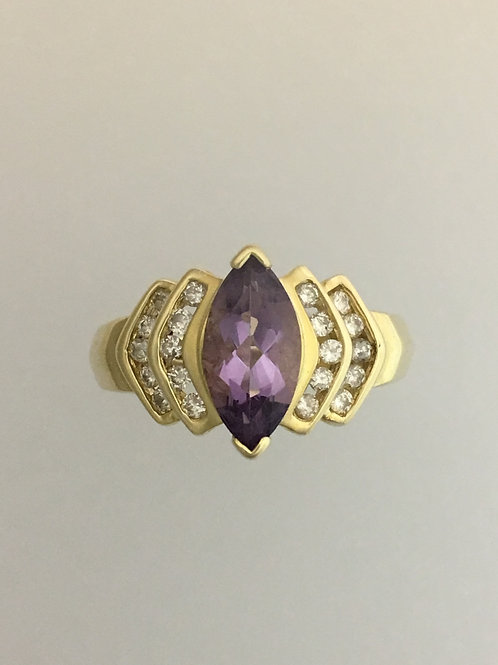 14k Yellow Gold 1.5 Carat Amethyst .77 Diamond Ring Size - 8 1/2