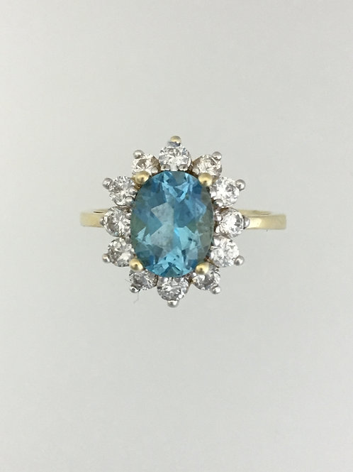 10k Yellow Gold White CZ and Blue Topaz Ring - Size 7 1/2