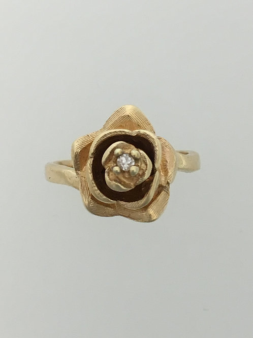 14k Yellow Gold and .015 Diamond Ring Size - 4