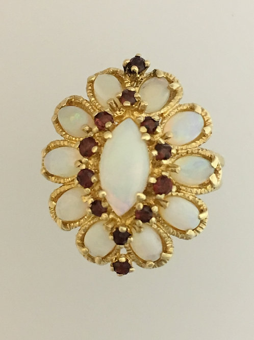 10k Yellow Gold 1.5 Opal .25 Garnet Ring Size - 8