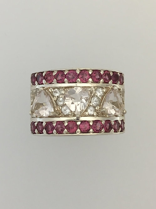 925/Pink & Clear Crystals Ring Size - 7