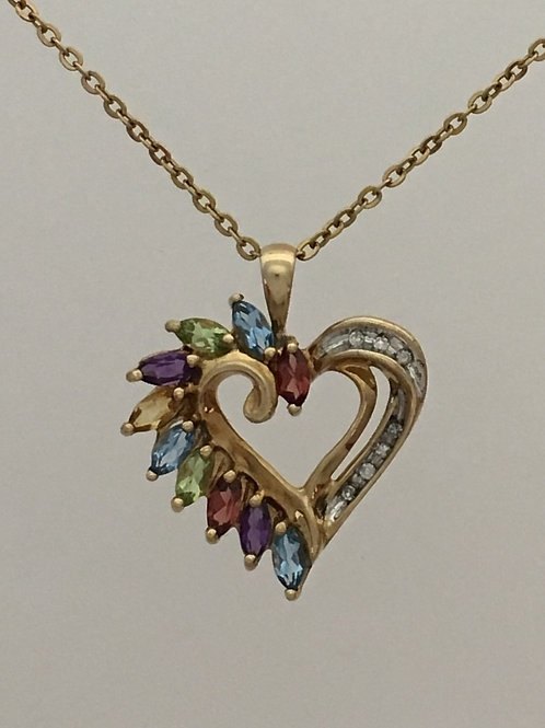 "10k Yellow Gold 21"" 2 Carat Semi-Precious Stones .03 Diamond Necklace"