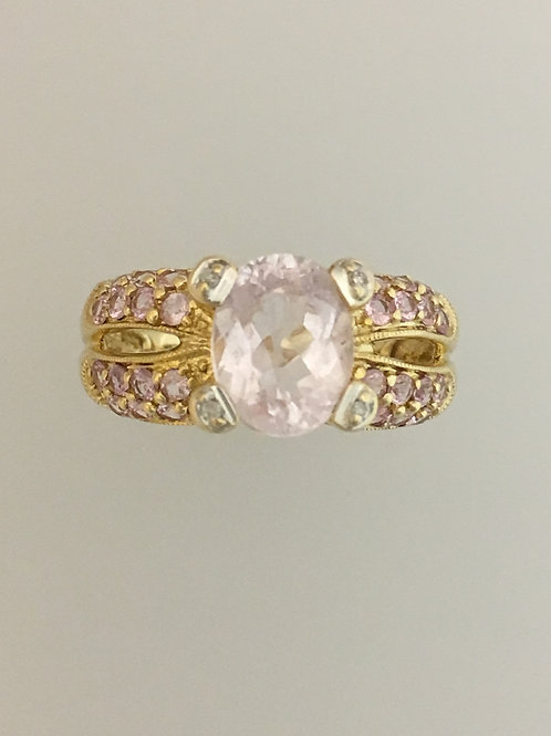 14k yellow Gold Morganite .01 Diamond Ring Size - 7