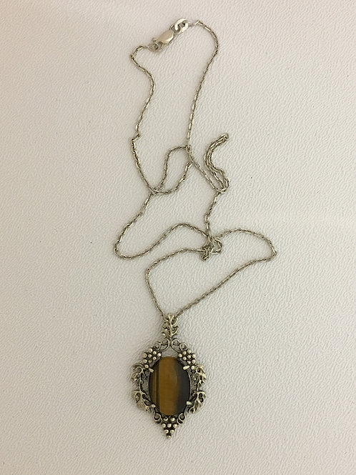 "925 & Tiger Eye 18"" Necklace"
