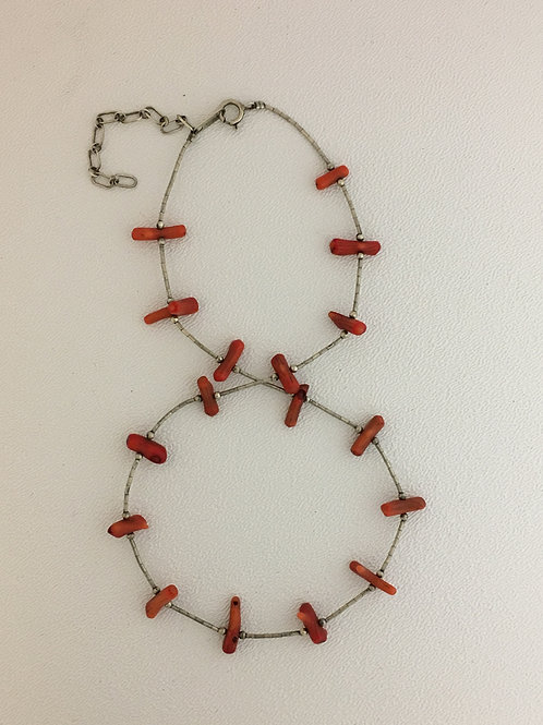"""925 Coral 16"""" Necklace with 2"""" Extender"""