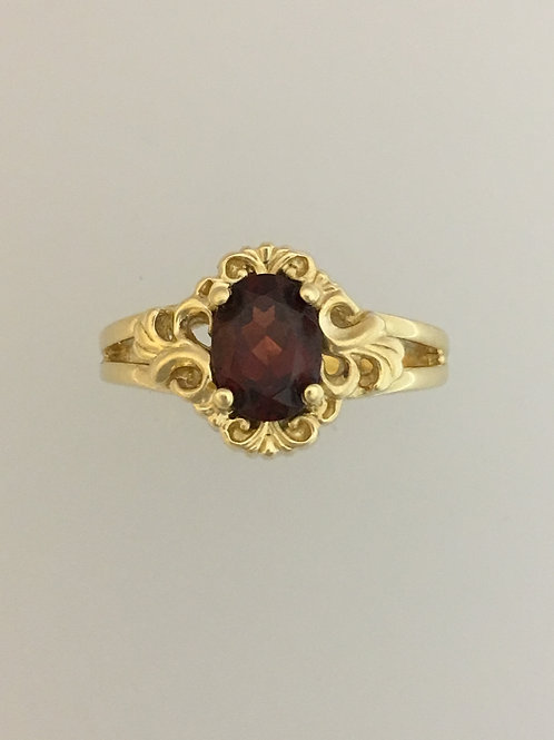 14k Yellow Gold 1.0 Garnet Ring Size - 7 1/4