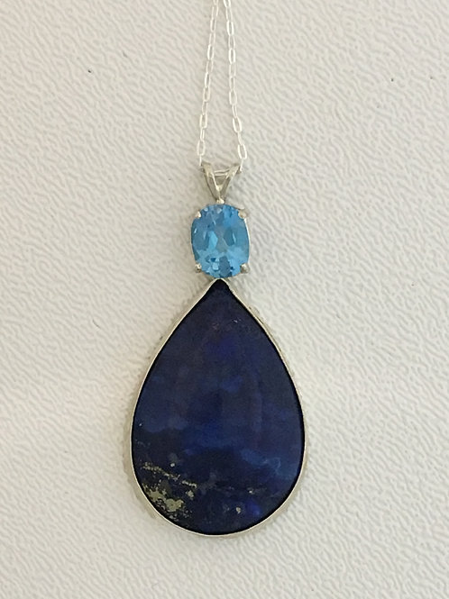"925 Lapis & Blue Topaz 16"" Necklace"