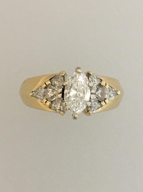 14k Yellow Gold Two Carat Diamond Ring Size - 6 1/2