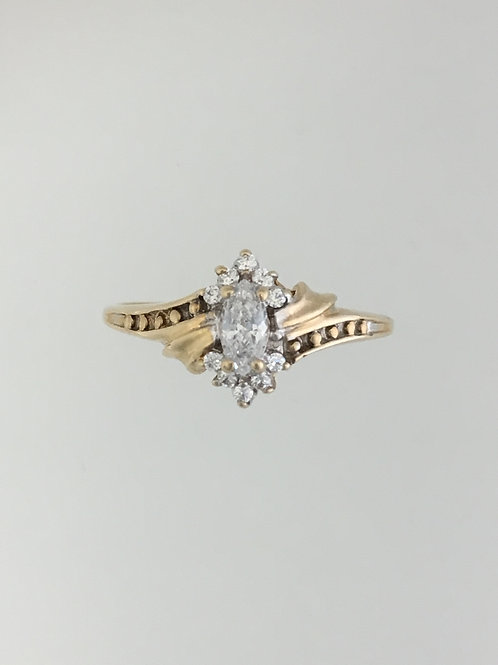 10k Yellow Gold and CZ Ring Size - 8
