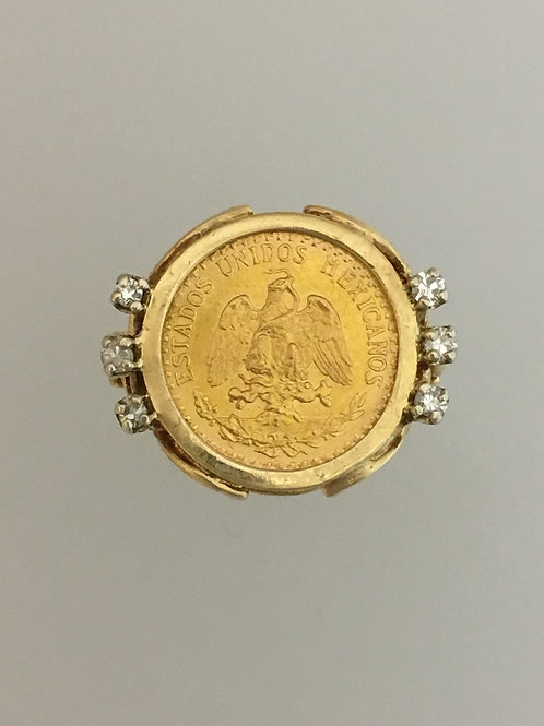10k Yellow Gold One Peso Synthetic Diamond Ring Size - 5 1/2