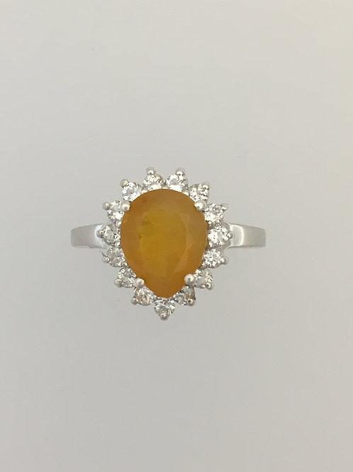 925 CZ & Fire Opal Ring Size - 6