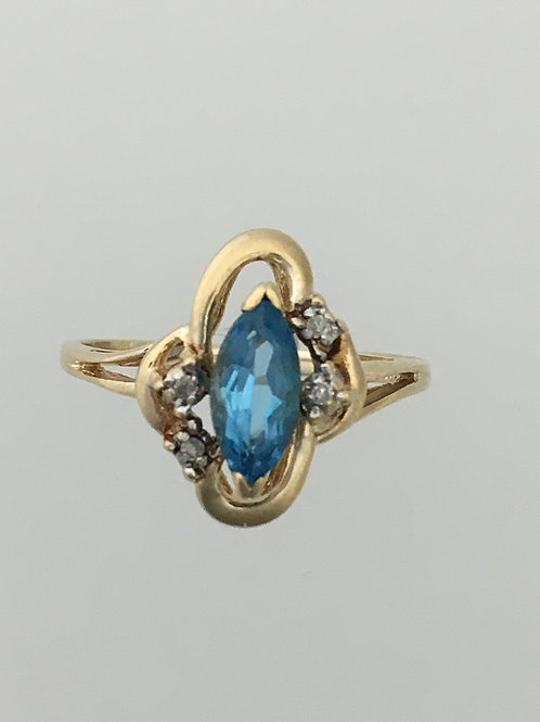10k Yellow Gold .50 Blue Topaz .02 Diamond Ring Size - 6 1/2