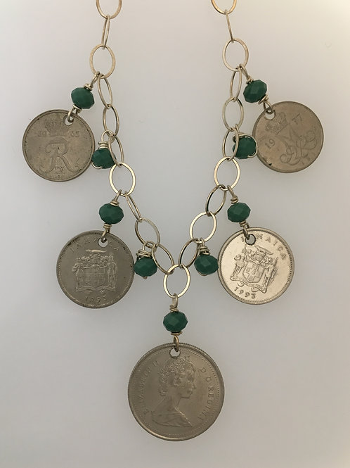 "20"" 925 & Coin Necklace features green glass beads"