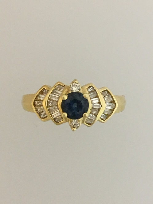 14k Yellow Gold .50 Sapphire .40 Diamond Ring Size - 7