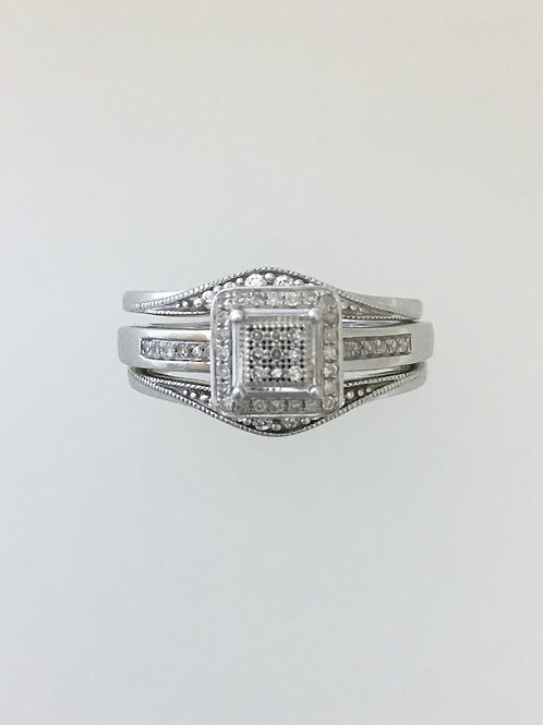14k White Gold .31 TW Diamond Ring Size - 7