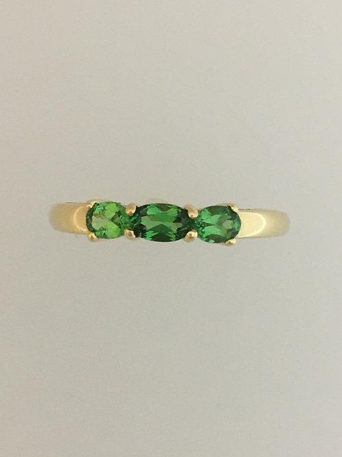 14k Yellow Gold .70 Tsavorite Garnet Ring Size - 9 1/4