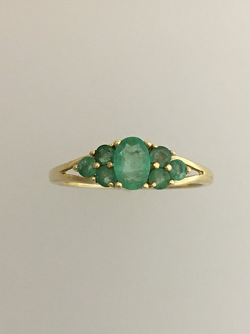 14k Yellow Gold .90 Emerald Ring Size - 9
