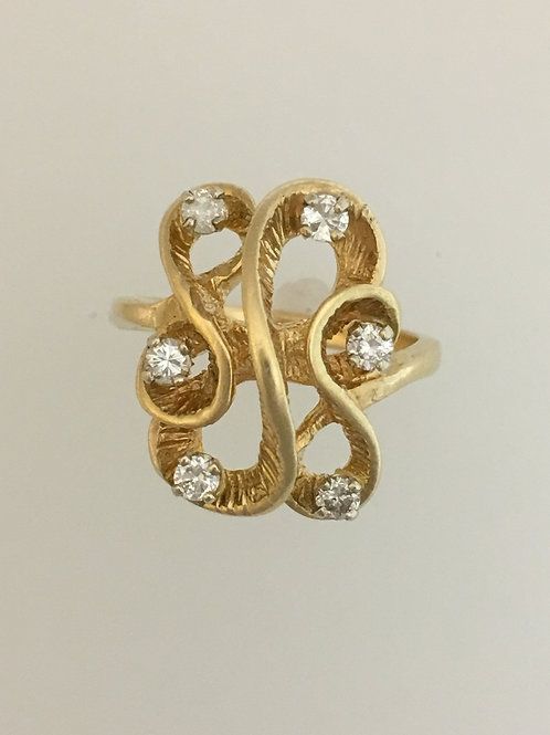 14k Yellow Gold .30 Diamond Ring Size - 1/2
