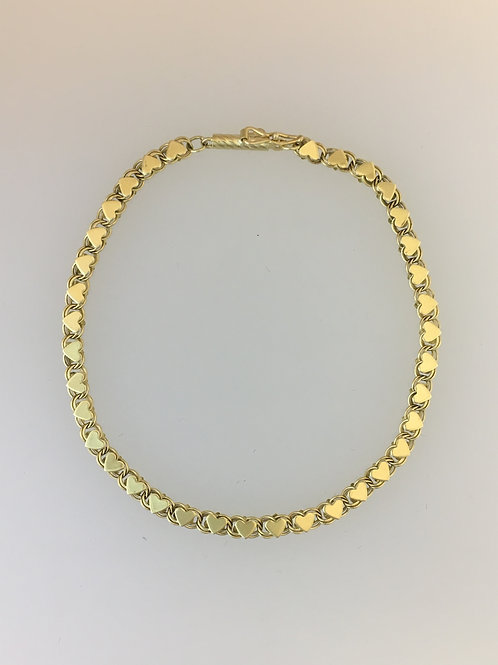 "14k Yellow Gold Heart Bracelet 7""Long 3mm Wide"