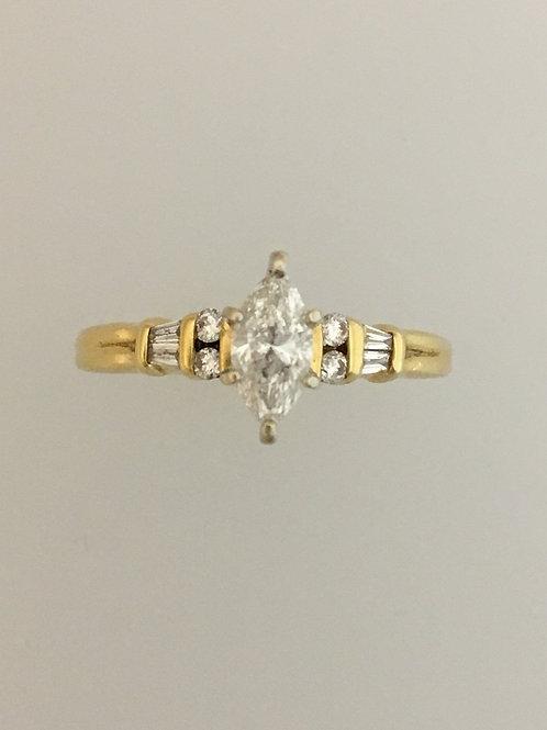14k Yellow Gold .75 Carat TW Diamond Ring Size - 7 1/2
