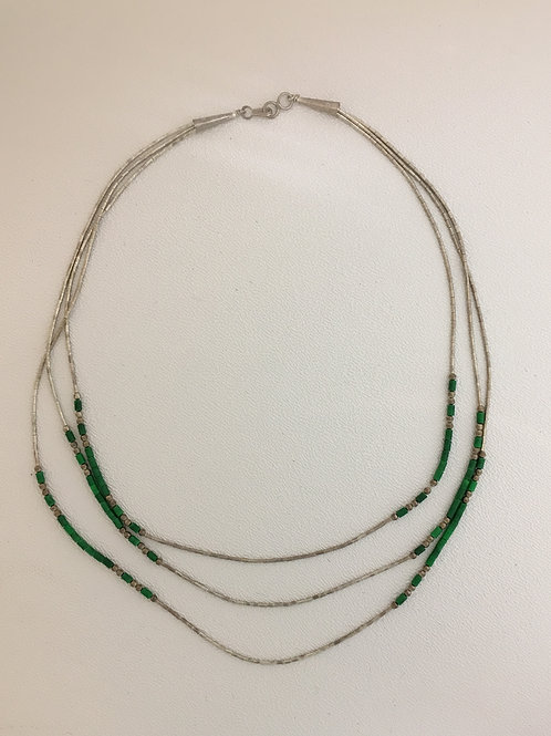 "925 & Malachite 18"" Necklace"