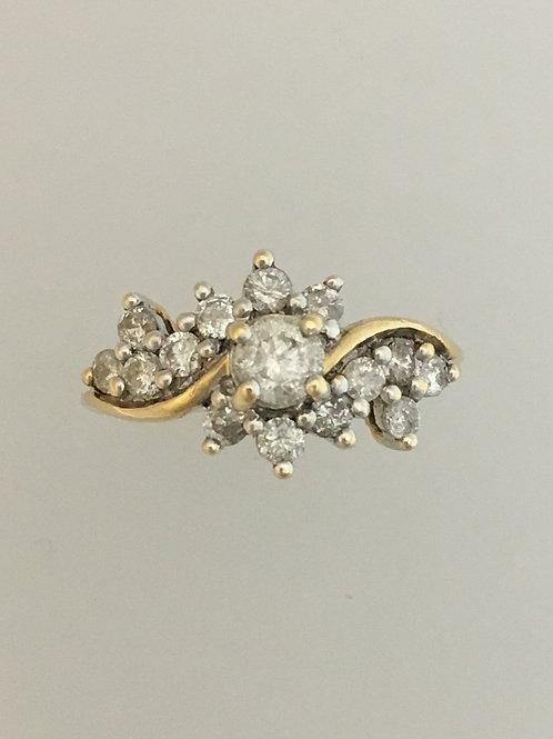 14k Yellow Gold .25 Center CS .75 TW Diamond Ring Size - 5 1/4